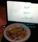 "From A.C. ""Fried Rice for Barnaby and Kotetsu and fried egg for Keith. I did a terrific job transferring that egg onto the plate."""