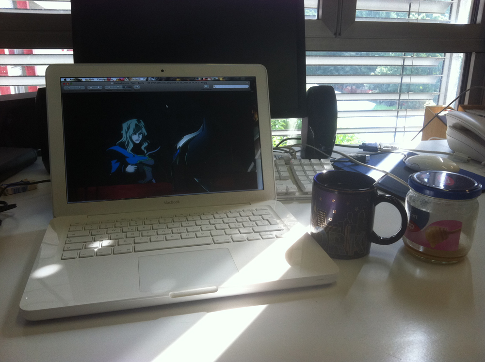 "From Minako. ""Everyday, when I am at work in my genetics research lab, I always prepare myself some tea...with honey too, just like Yuri! So, here you see tea, honey, and Lunatic on the background! ;) Greetings from a PhD student that likes Tiger & Bunny!"""
