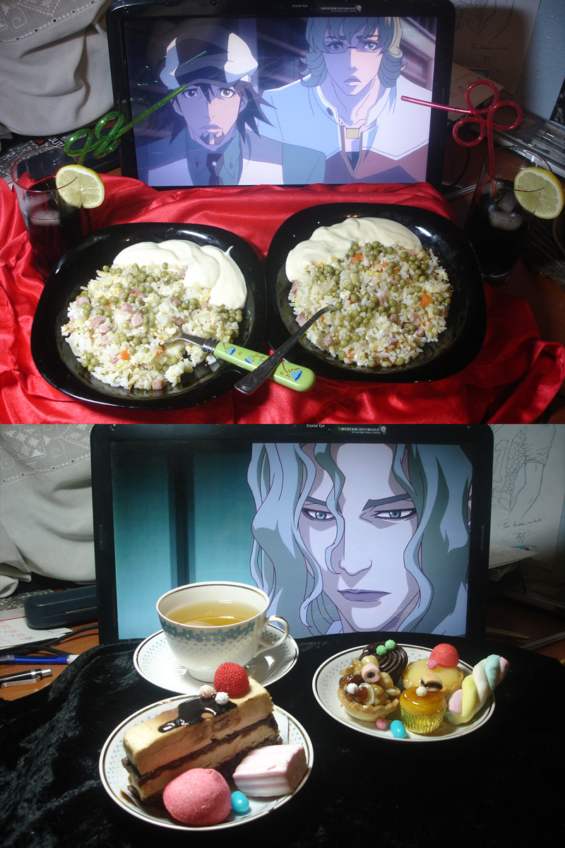 """From Arima & Riza. """"I cooked the rice today. I thought it would taste horrible, but it was edible, even good. In fact, it was amazing. Probably because of the mayonnaise xD Since Yuri is our favourite character, we made him some tea and bought him cake and sweets. Some cheating here, I can't bake cakes. But he didn't seem to mind."""""""