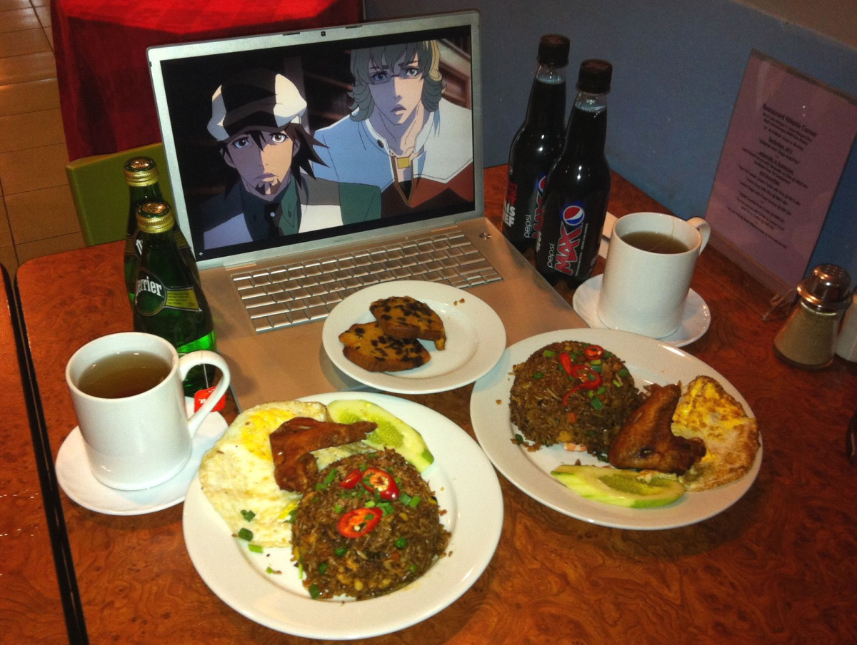 """From N.R. """"Friend Rice Event with well, another friend. More fun than it should have been We busted out and got the boys dinner, cake, tea (thought Yuri will object to no teacup) Perrier and Pepsi Max to go with it. Too bad Keith wasn't around for some fried eggs. Eat it all up fellas. All of it for you two XDXD"""""""
