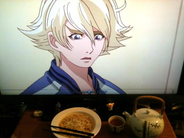 """From @kimbawolff. """"Surprise udon and green tea lunch for Ivan."""""""