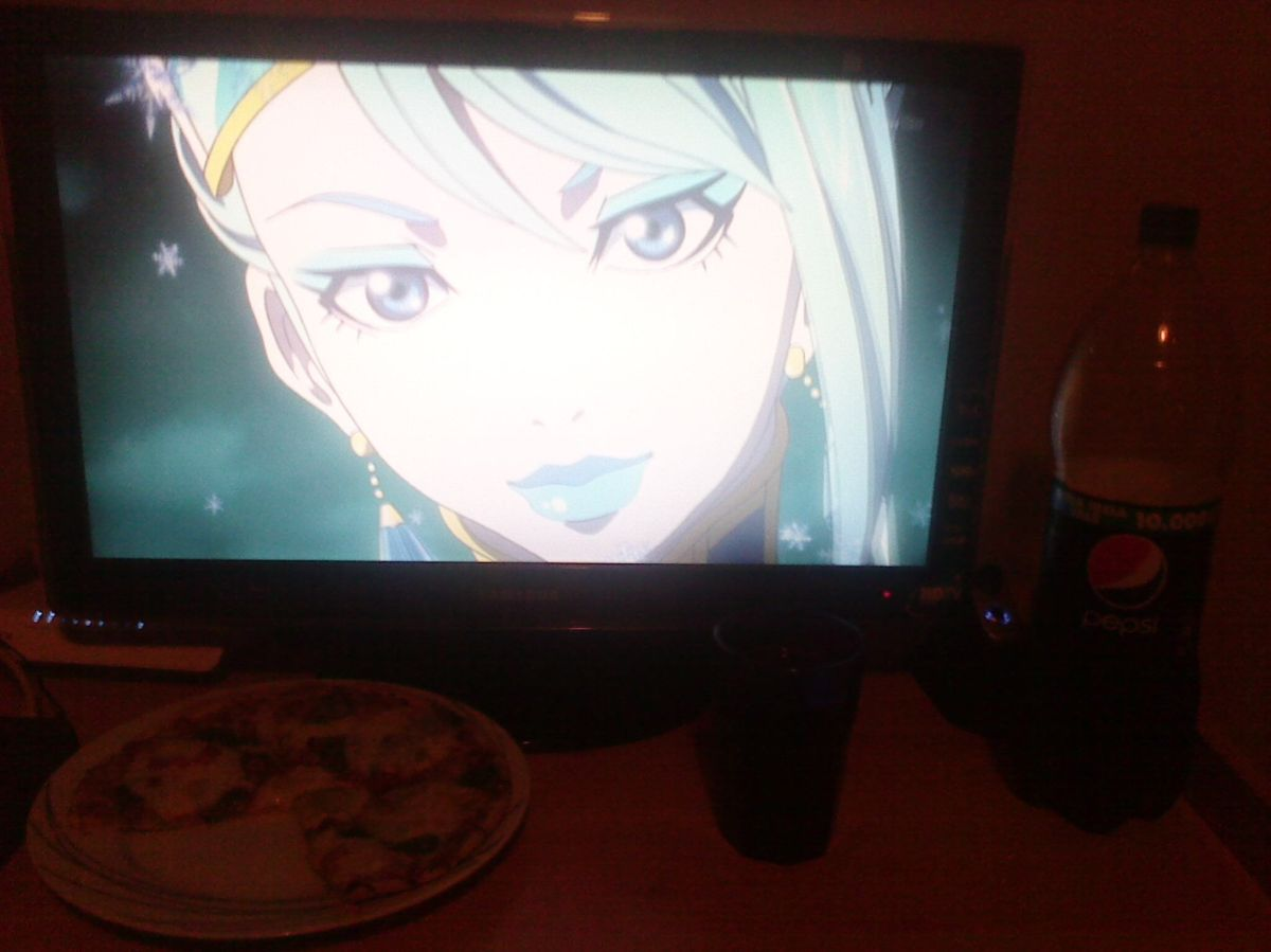 """From G.R. """"Just sharing my love with a pizza and a plain old regular Pepsi with my favorite Sterbild hero, Blue Rose. I'm sure she will forgive me for phone shot and the normal pepsi since that being a hero is being forgiving. Plus i think the blue lights of my computer doohickeys are pretty fitting."""""""
