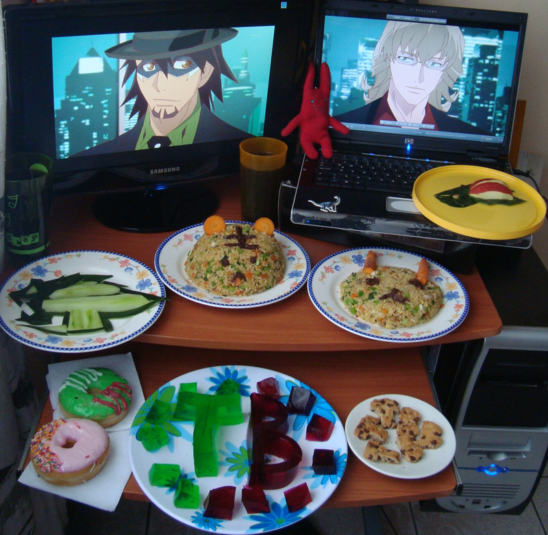 """From A.A. """"Me and a friend made this entry together... we made a lot of food.. *embarrasing* but this is how much we love tiger & bunny :3 <3"""""""