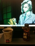 "From luthien26. ""Tea with Yuri! He was kind enough to pour me a cup while I was on the overnight shift at work. Side note: he actually keeps a honey bear in his desk at the Justice Bureau, but tries his best to hide it. :)"""