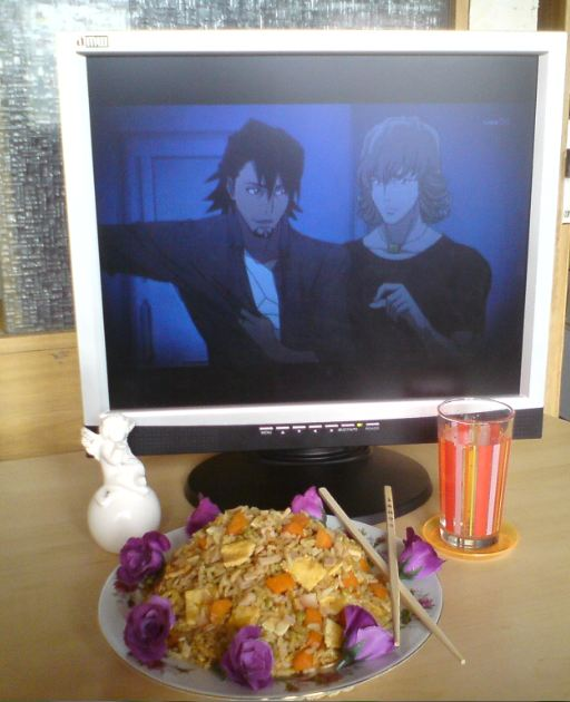 """From C.T. """"Well, I didn't cook the fried rice myself but it is home made! Unfortunately I forgot the mayonnaise for Kotetsu . The picture isn't that correct, because Kotetsu and Bunny have to eat from one plate with only one pair of chopsticks xD. Maybe they fight over it or they feed each other! XD"""""""