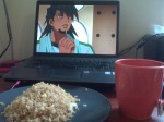"From R.W. ""Here's some Friend Rice and Yuri Tea for Kotetsu."""