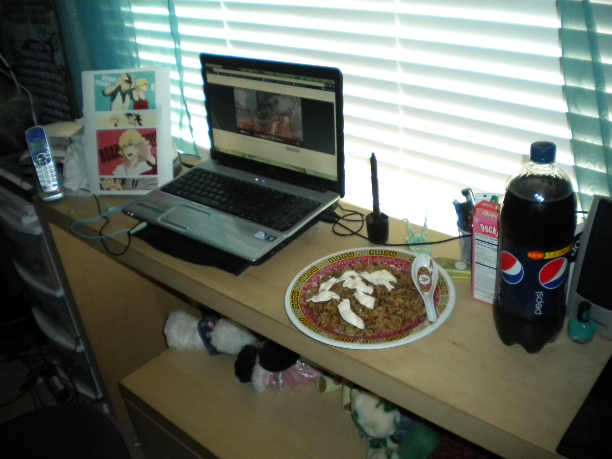 "From Haley. ""Here's a picture of my little viewing party for one. Includes fried rice, a cute comic I found online, an episode playing on my laptop, pepsi and pocky. This was the coolest party I've ever had x'D """