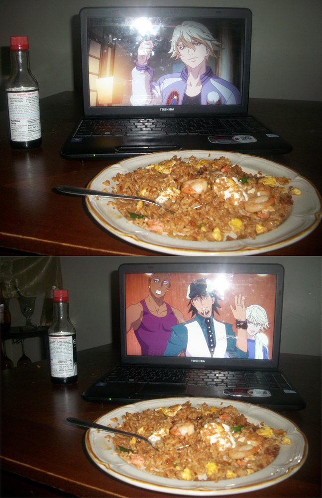 """From Ami Yumi. """"My shrimp fried rice with Soy sauce for Ivan,Kotetsu and Nathan to enjoy...."""""""
