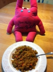 "From M.A. ""Friend rice with signed bunny doll!"""