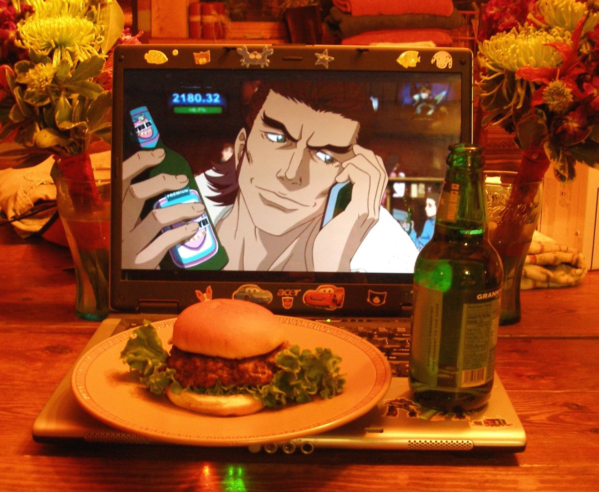"""From E.I. """"The first is Rock Bison (in honor of my brother - his fave character) - and you can't tell from the photo but it is a BISON MEAT burger.  Hopefully that is cute and not disturbing!  Antonio said it was delicious XD"""""""