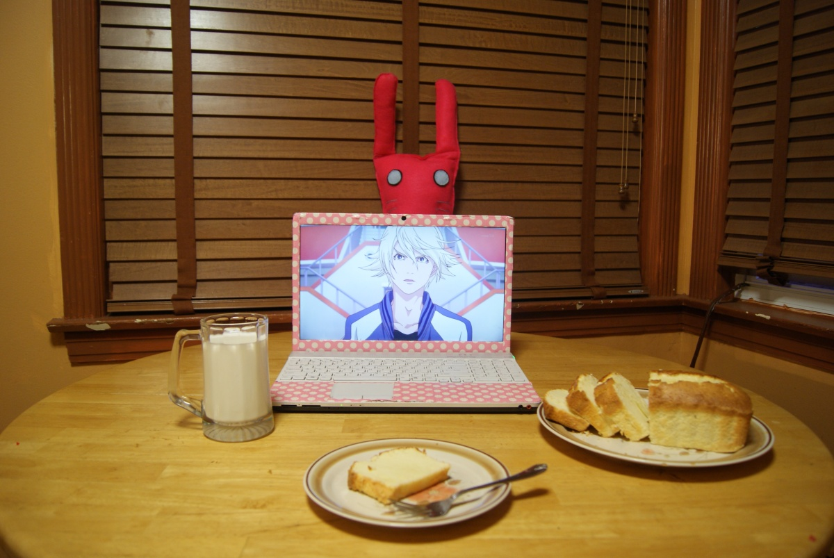 "From L.T. ""showin' some love for Ivan. bonus points: birthday is tuesday, friend made me a bunny plush I didn't have time for rice, but I've been making pound cake every year since I was seven so I thought to just use my skill."""