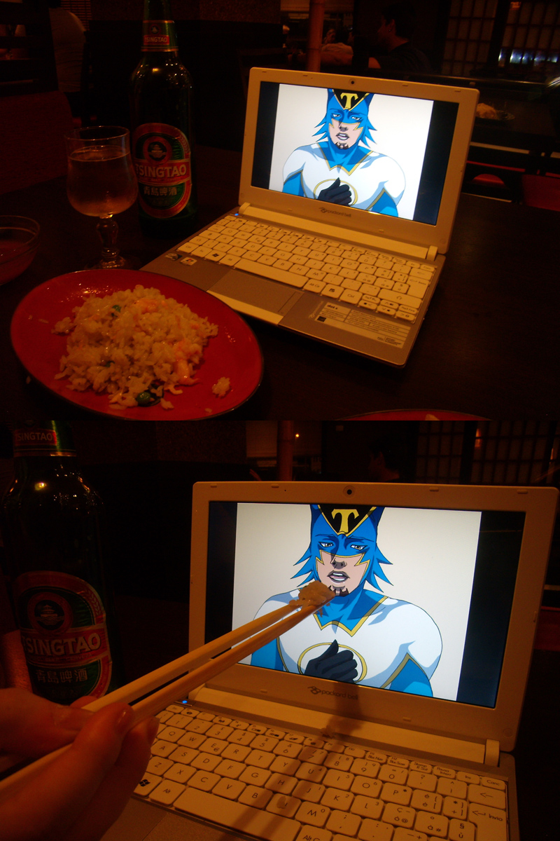 """From Daeva-kun & aflyingteapot. """"Greetings from Italy! Me and my friend watched the last episode today, and here's our contribution-- Since cooking was out of question, we brought Kotetsu to the restaurant and offered him some of our rice XDD"""""""
