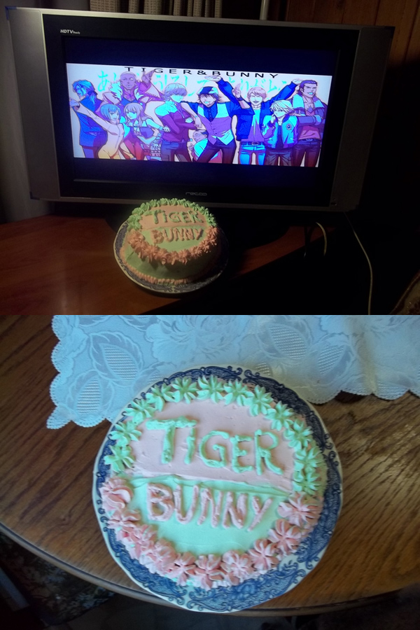 "From M.P. ""Bonjour heroes~  Well, this is a Tiger&Bunny cake who my mom and I made it. Even inside the cream have green and red/pink colors. It has also peach inside~"""