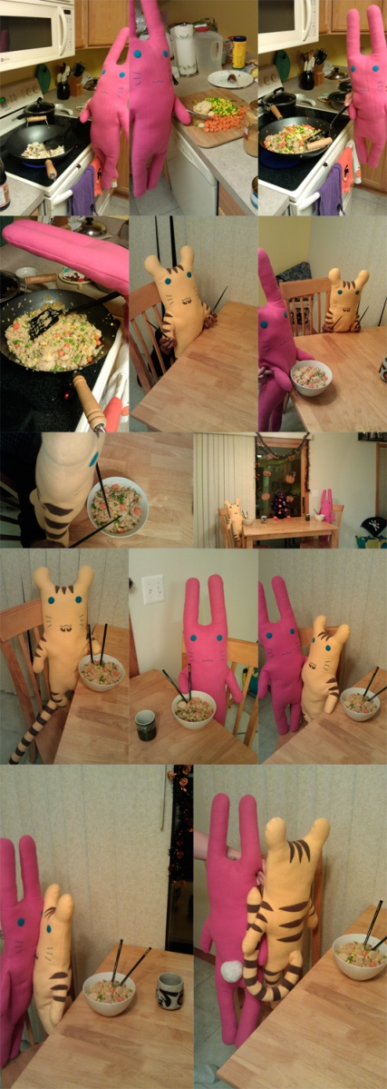 "From K.A.A. ""Tiger & Bunny plushies share a meal of fried rice :)"""