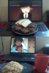 "From @setosnicegirl. ""Barnaby with Samantha Cake, brownies, & chocolate covered rice crispy treat."""