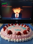 "From Cain. ""haha i'm so glad because he seems happy with the cake >3< omedeto! soshite omedeto! bunny-chan! ♥"""