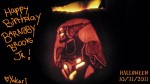 "From Yukari. ""The gift I made for the event is a pumpkin carving of Barnaby's hero suit."""