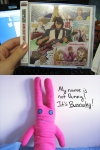 """From shukamu. """"First picture: The BEST OF HERO album is the only official T&B merch I have.  Usually the high shipping costs discourage me from buying stuff, but I liked the samples I heard so much I decided to buy the album.  Best purchase ever.  Second picture: Somebody made the rabbit plushies and held a raffle for two of the plushes she made.  I was one of the winners, and I've had it since the show ended.  Everybody in my suite loves him."""