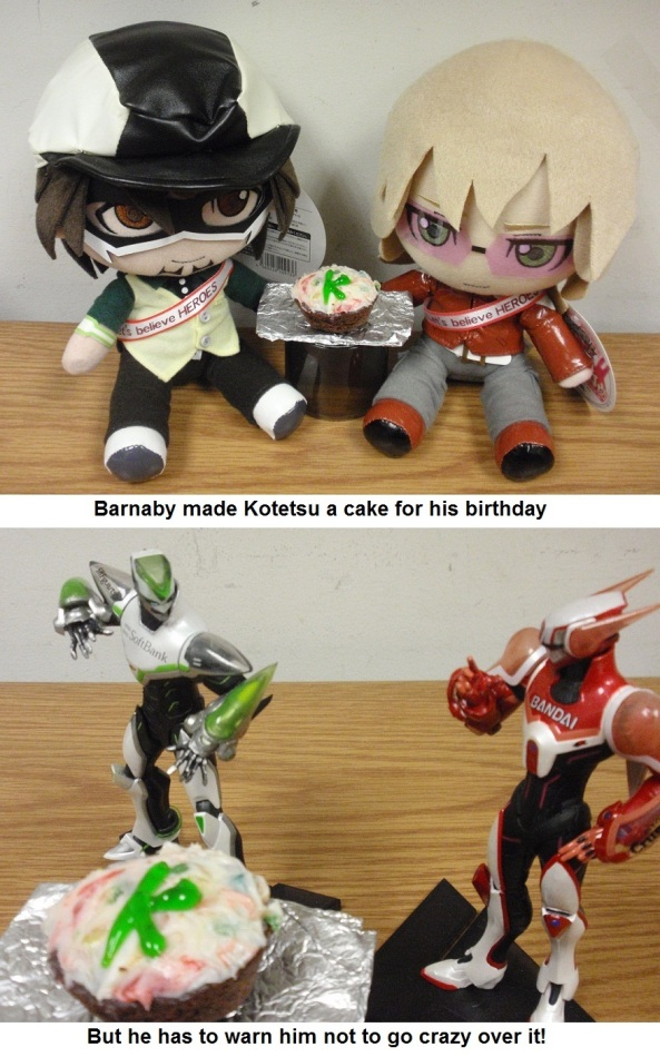 "From Cathy M. ""Barnaby is practicing his cooking skills for Kotetsu's birthday, but Kotetsu gets over excited and Barnaby has to remind him to calm down. I'm glad to show off the T&B merchandise I got for Christmas!"""